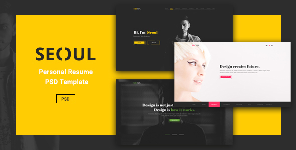 Seoul - Personal Resume PSD Template - Virtual Business Card Personal