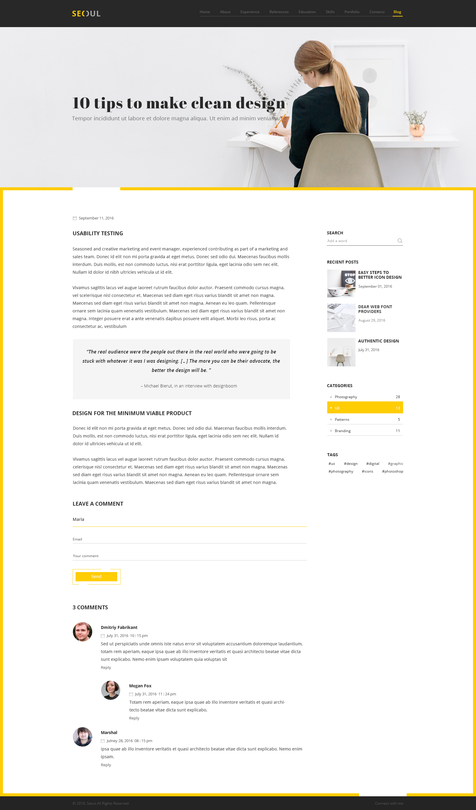 Seoul Personal Resume PSD Template by wpbrothers