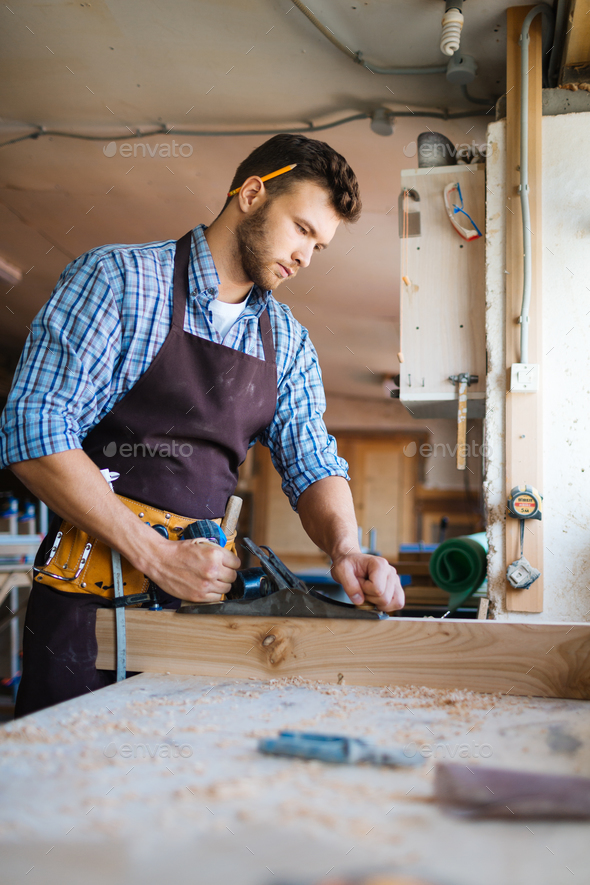 Working with timber - Stock Photo - Images