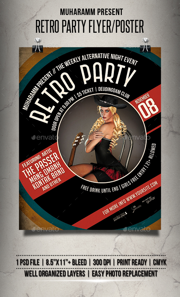 Retro Party Flyer / Poster - Clubs & Parties Events