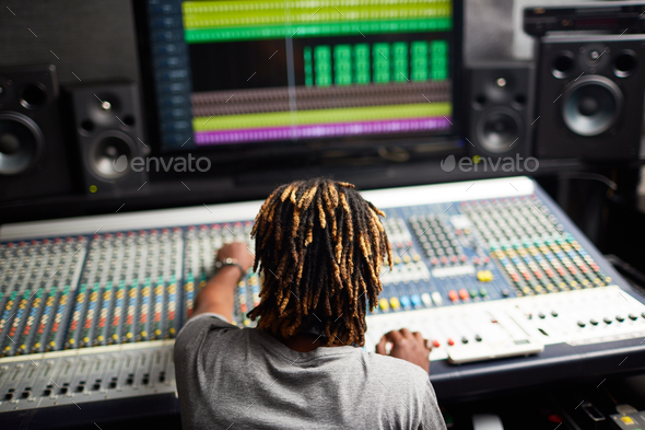 Working in recording studio - Stock Photo - Images