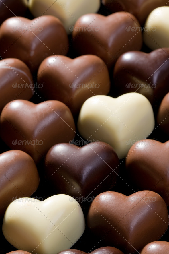 chocolate hearts background - Stock Photo - Images