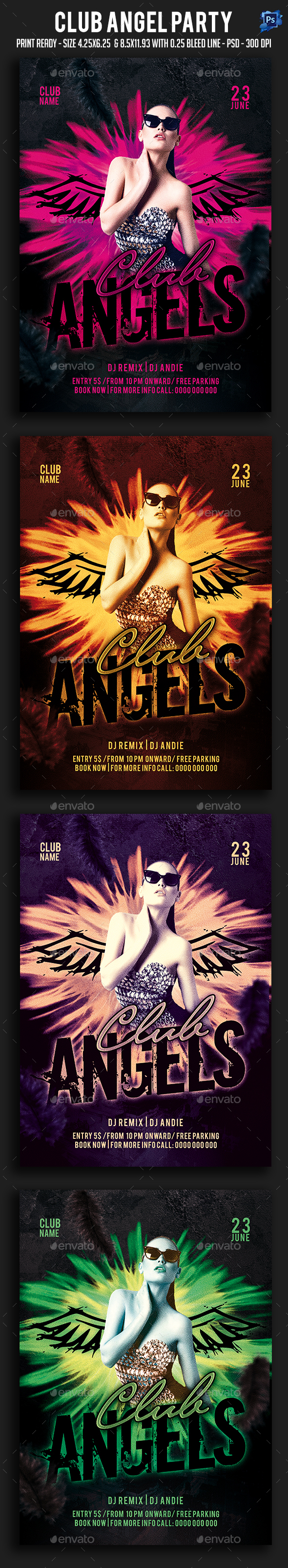 Club Angel Party Flyer - Clubs & Parties Events