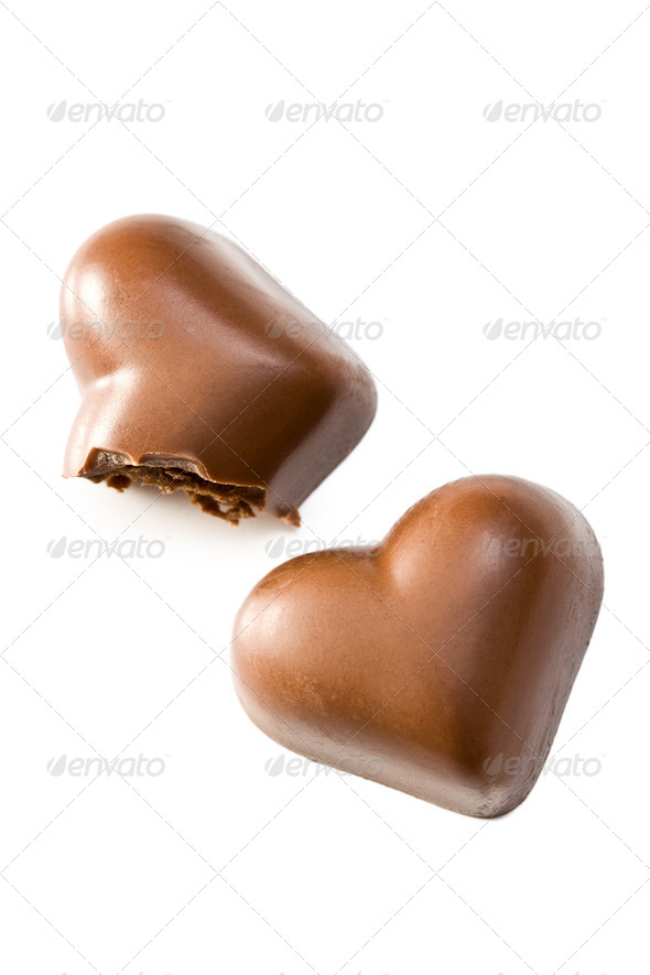 bitten chocolate heart - Stock Photo - Images