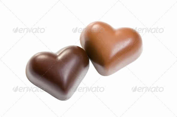chocolate hearts on white - Stock Photo - Images