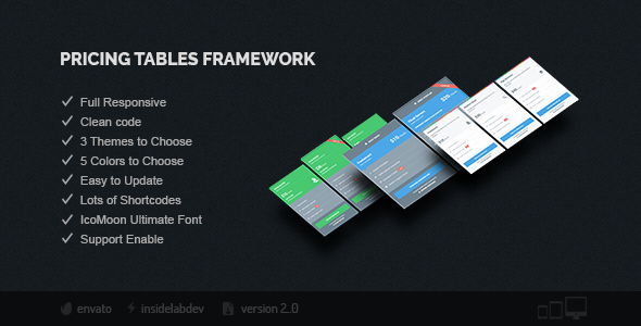 Pricing Tables Framework - CodeCanyon Item for Sale