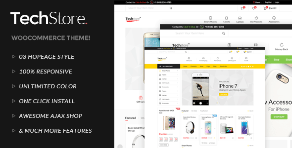 Techstore Electronics AJAX Woocommerce Theme