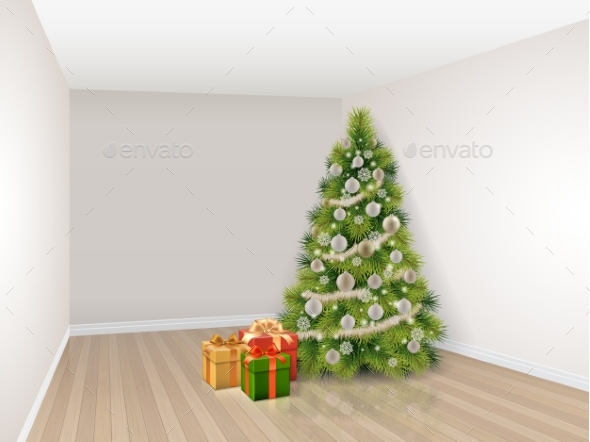 Empty room with christmas tree by belander graphicriver