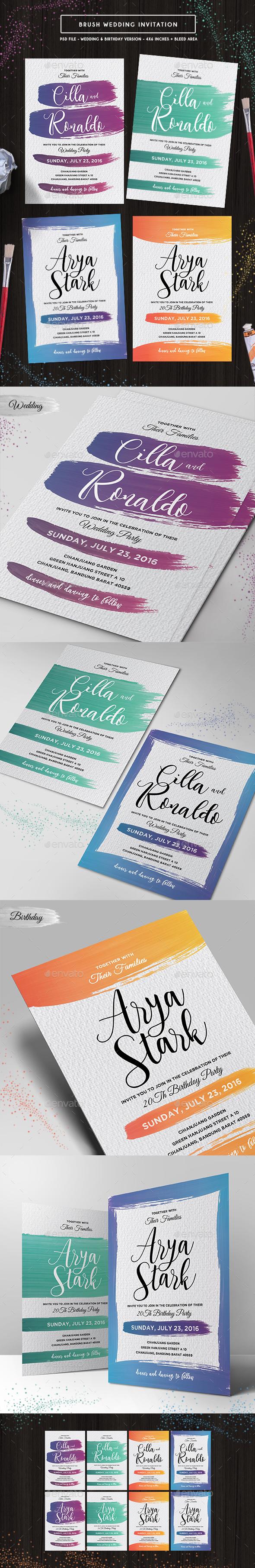 Brush Wedding Invitation - Invitations Cards & Invites