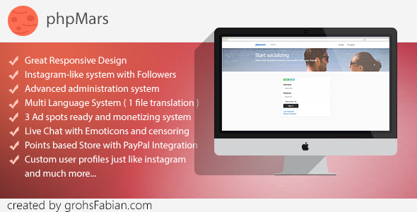 phpMars - Photos Social Network ( instagram clone ) - CodeCanyon Item for Sale