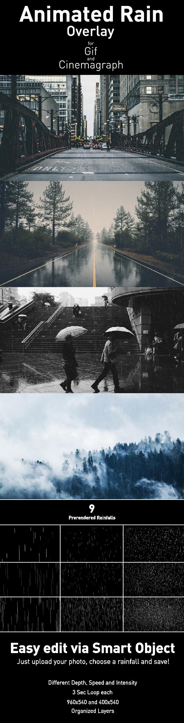 Animated Rain Overlay - Photoshop Add-ons