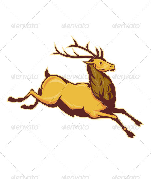 Deer Stag Buck Retro Woodcut Style - Animals Characters