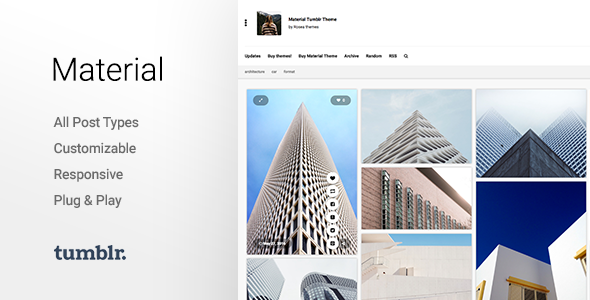 Download Material | Responsive, Full Width, Grid Tumblr Theme for Photographers nulled version
