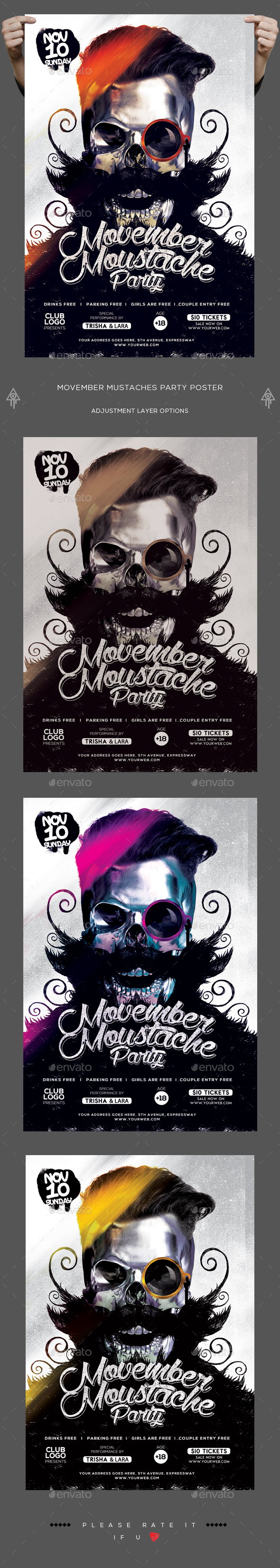 Movember Mustaches Party Poster - Clubs & Parties Events