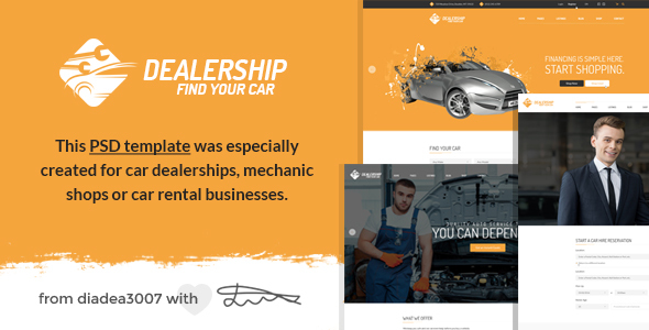 Dealership – Car Dealership, Mechanic & Rental PSD Template