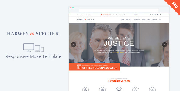 Harvey & Specter | Law Firm Muse Template - Corporate Muse Templates