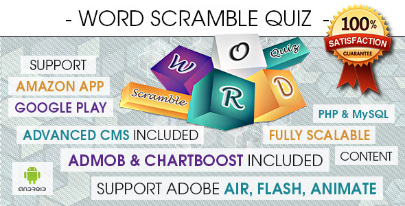 Word Scramble Quiz With CMS & Ads - Android - CodeCanyon Item for Sale