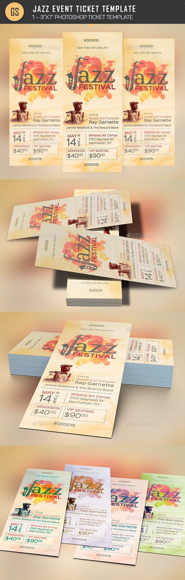 Jazz Event Ticket Template - Miscellaneous Print Templates