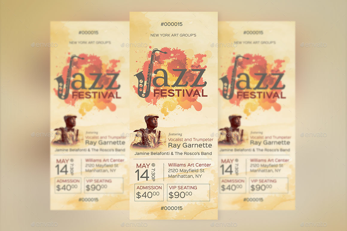 Preview Image Set/Jazz Event Ticket Template  Preview 1 ...  Event Ticket Template