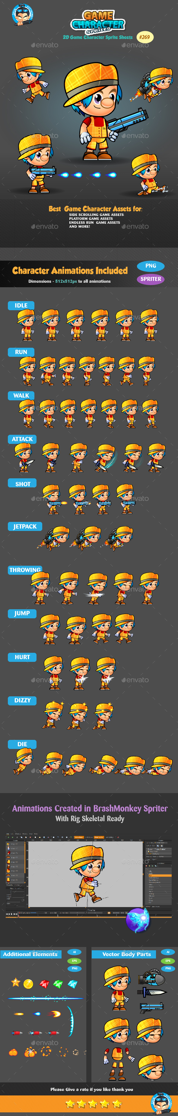 2D Game Character Sprites 269 - Sprites Game Assets