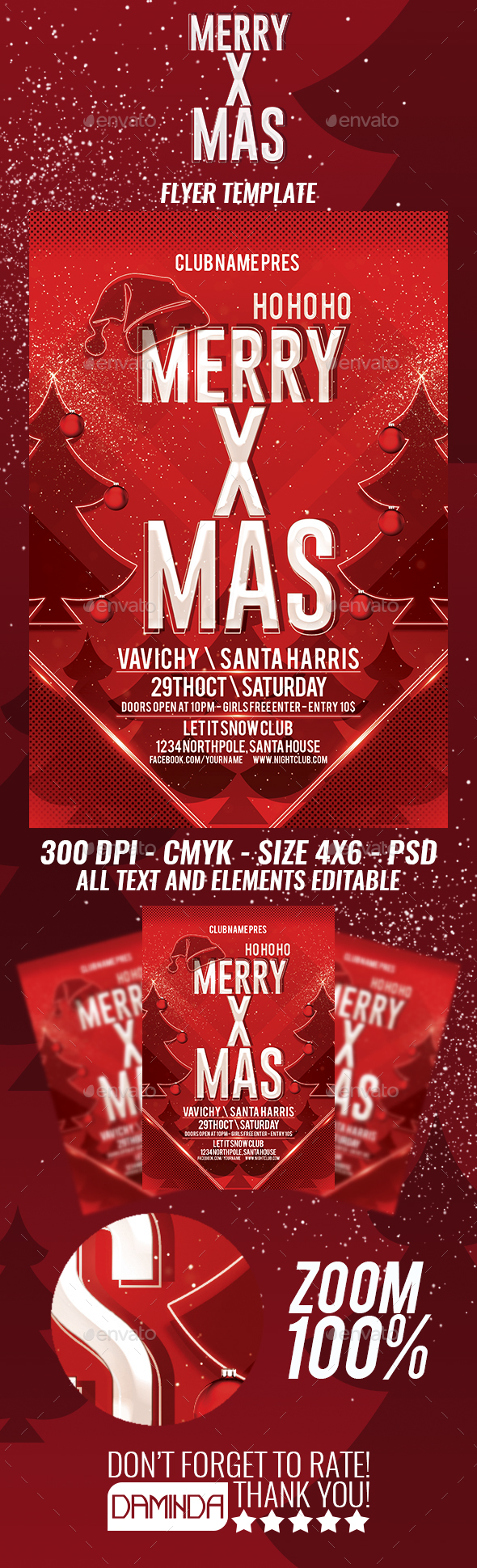 Merry X Mas Flyer Template By Daminda Design Graphicriver