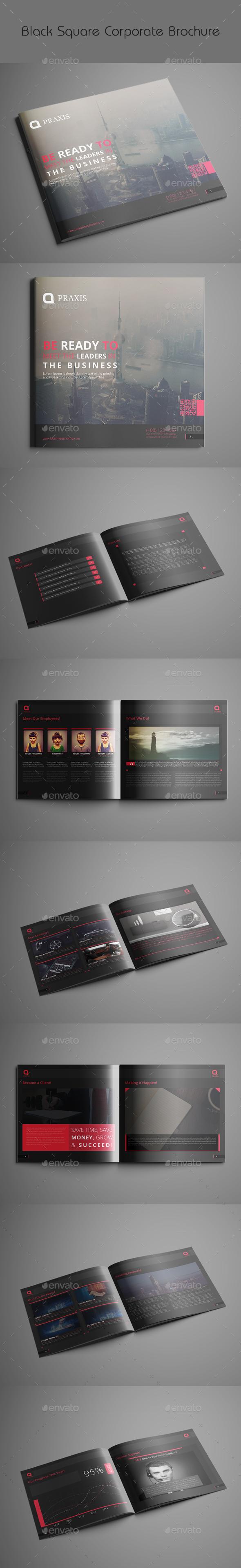 Black Square Corporate Brochure - Brochures Print Templates