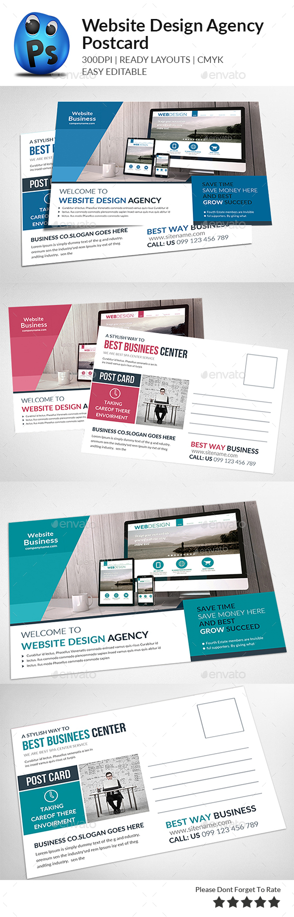 Website Design Agency Postcards - Cards & Invites Print Templates