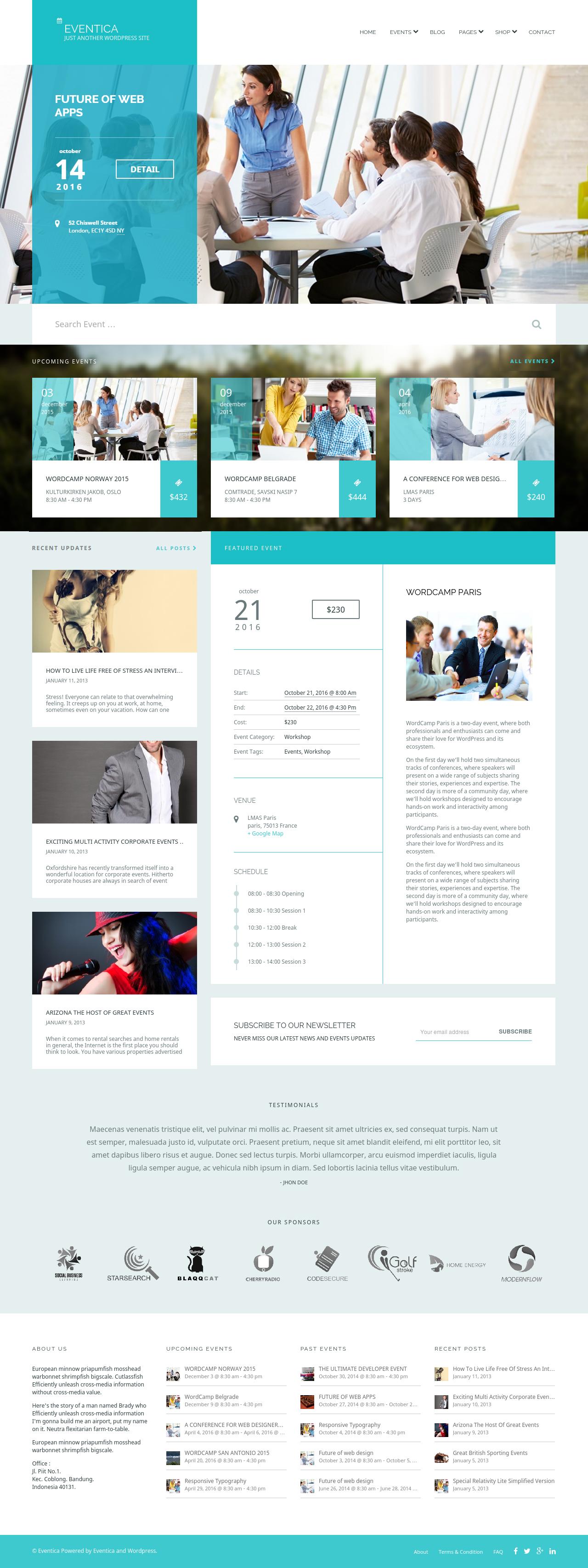 Eventica  Event Calendar & Ecommerce Wordpress Theme