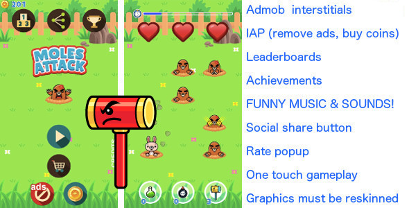 Whack a mole! +Ads +In App Purchase +20 LEVELS - CodeCanyon Item for Sale