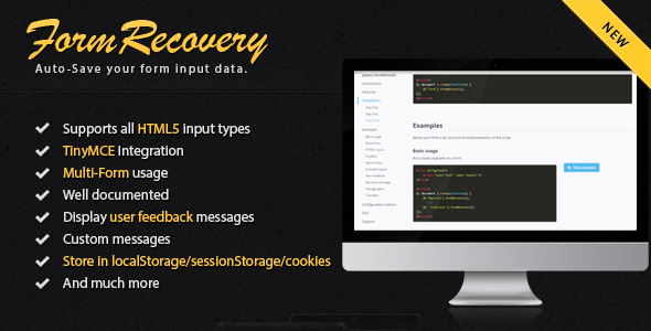 jQuery Form Recover - CodeCanyon Item for Sale