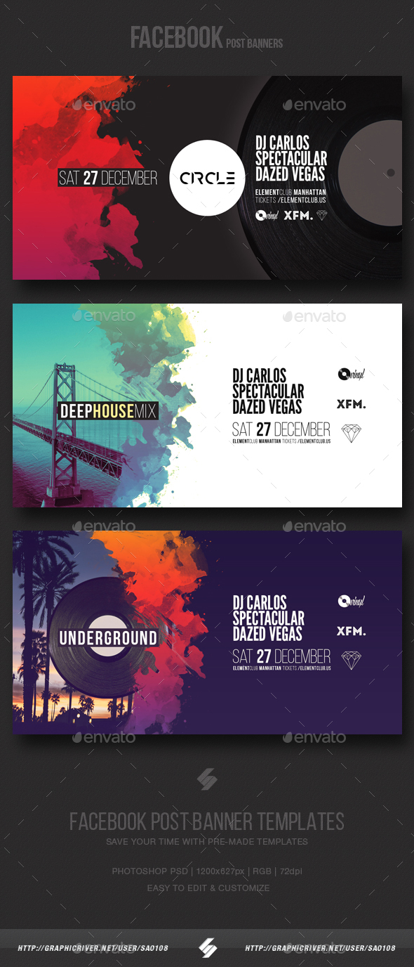 Electronic Music Party Vol3 - Facebook Post Banner Templates - Social Media Web Elements