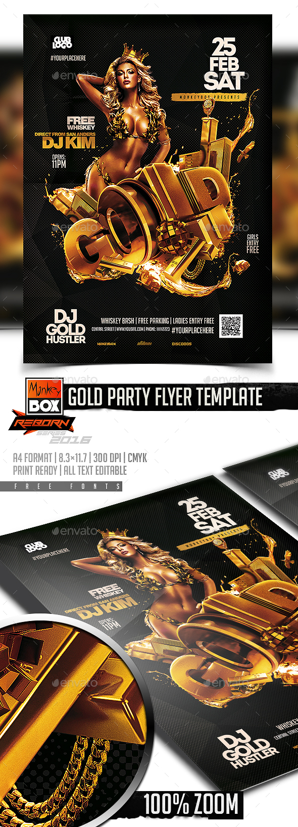 Gold Party Flyer Template - Flyers Print Templates