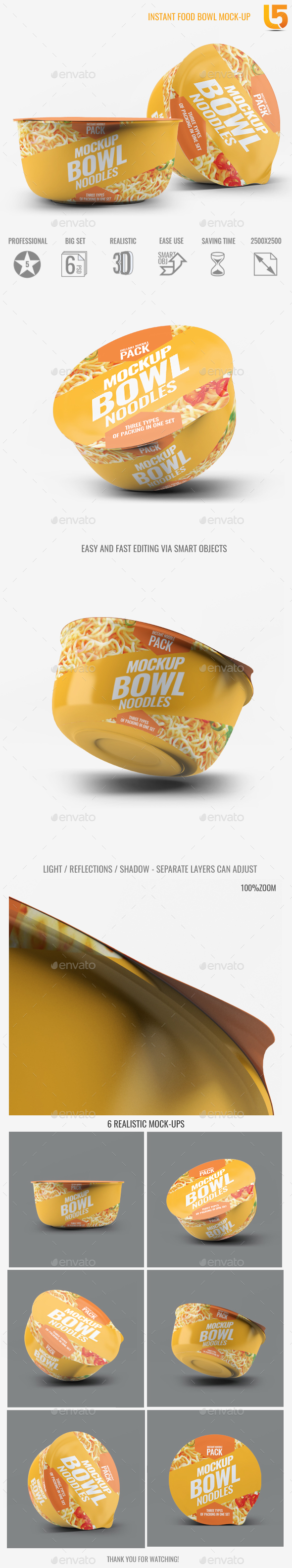 Instant Food Bowl Mock-Up - Food and Drink Packaging