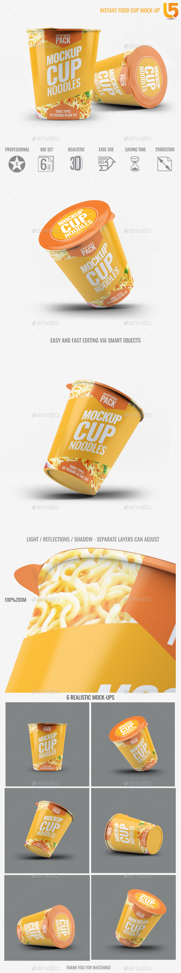 Instant Food Cup Mock-Up - Food and Drink Packaging
