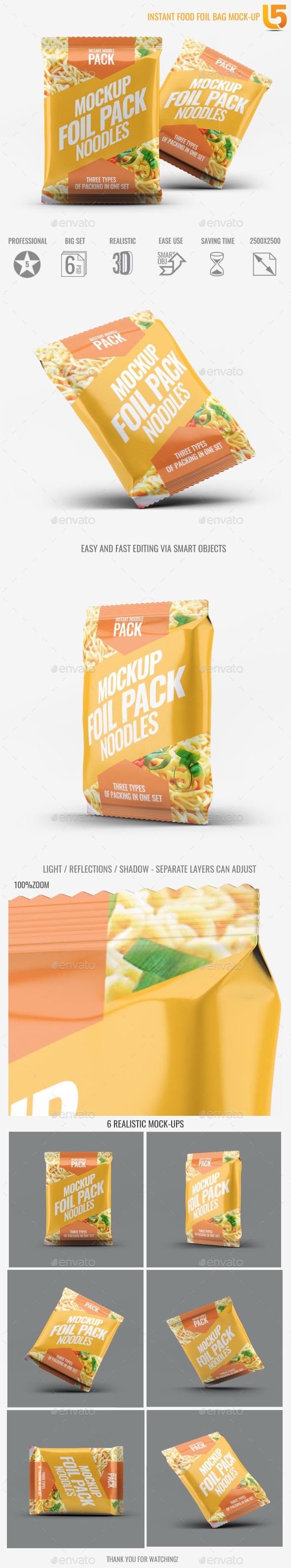 Instant Food Foil Bag Mock-Up - Food and Drink Packaging