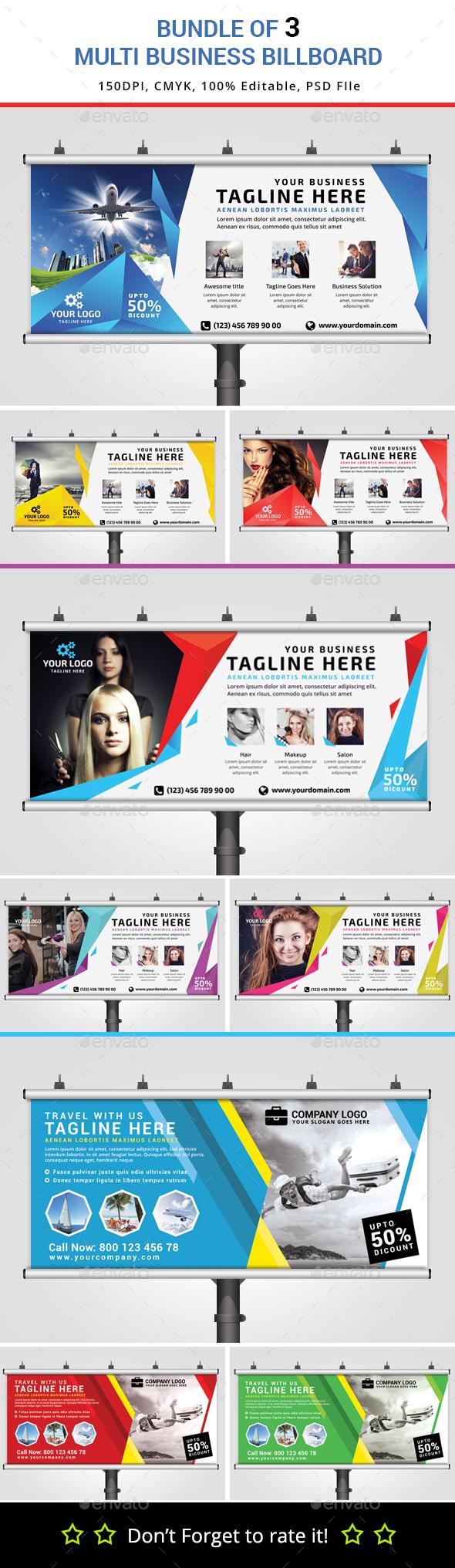 Bundle of 3 Multipurpose Billboard Banners - Signage Print Templates