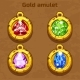Golden Old Amulet with Color Jewels - GraphicRiver Item for Sale