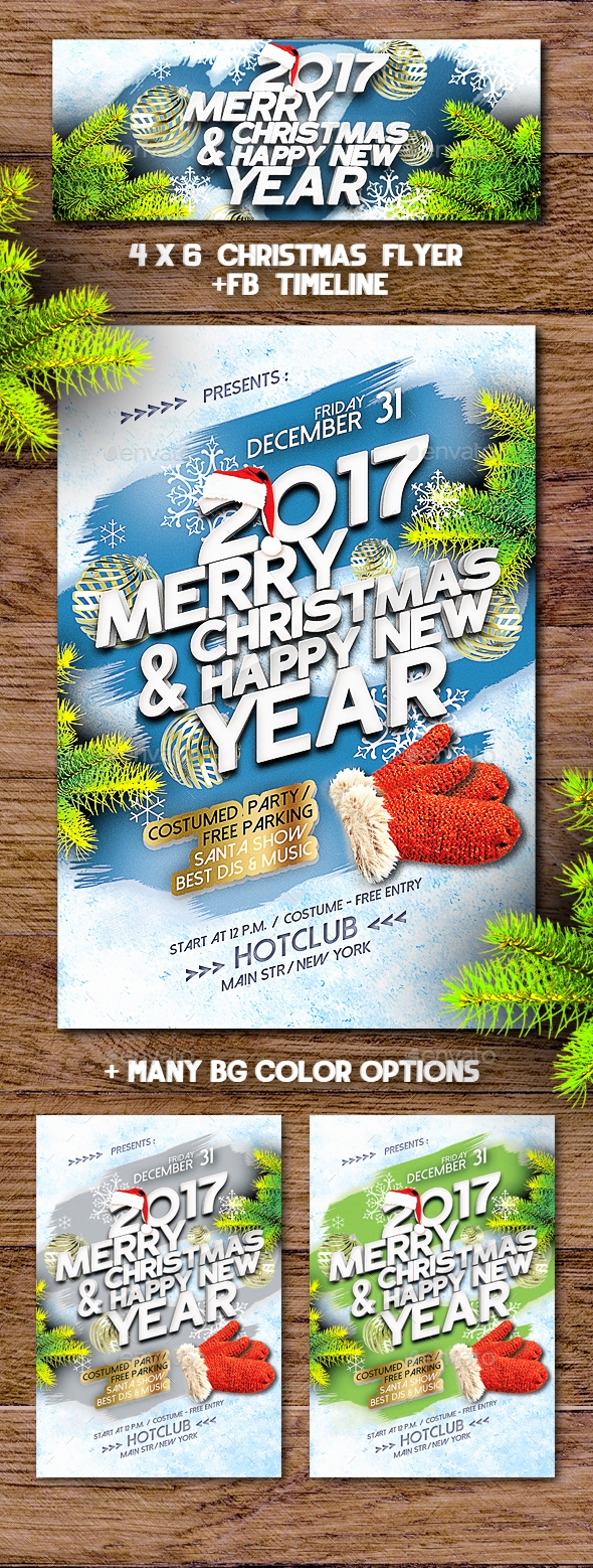 Christmas Frosty Flyer + Fb Timeline - Holidays Events