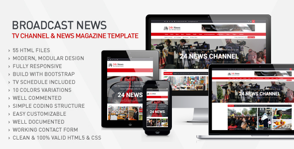 24h News – Broadcast News TV Channel & News Magazine Template