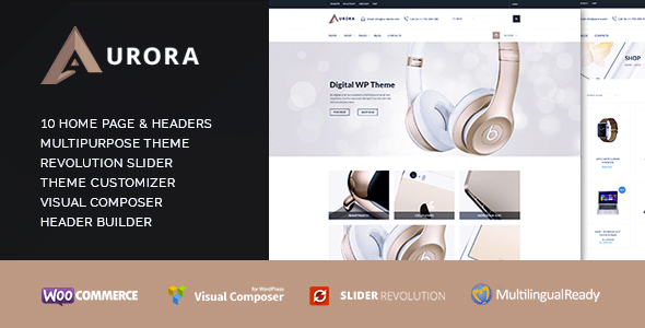 Aurora – Multipurpose Electronics & Media Market, Creative & Clean WooCommerce Shop