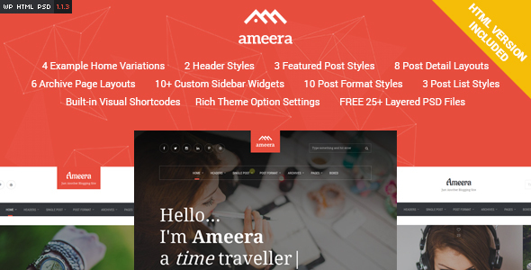 Ameera – Clean and Minimal WordPress Blogging Theme nulled
