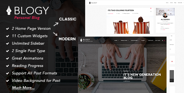 Blogy - Modern Personal WordPress Blog Theme - Personal Blog / Magazine