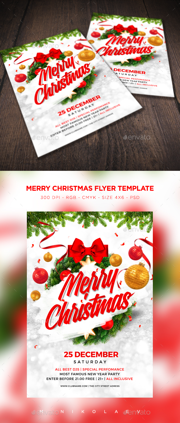 Merry Christmas Flyer V8 - Clubs & Parties Events