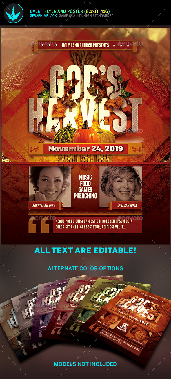 God's Harvest Fall Flyer Template - Holidays Events