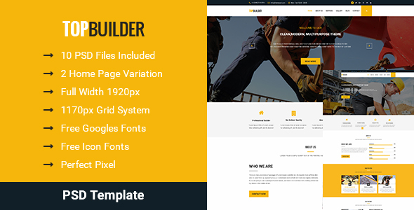 TopBuilder – Construction Building PSD Business Template