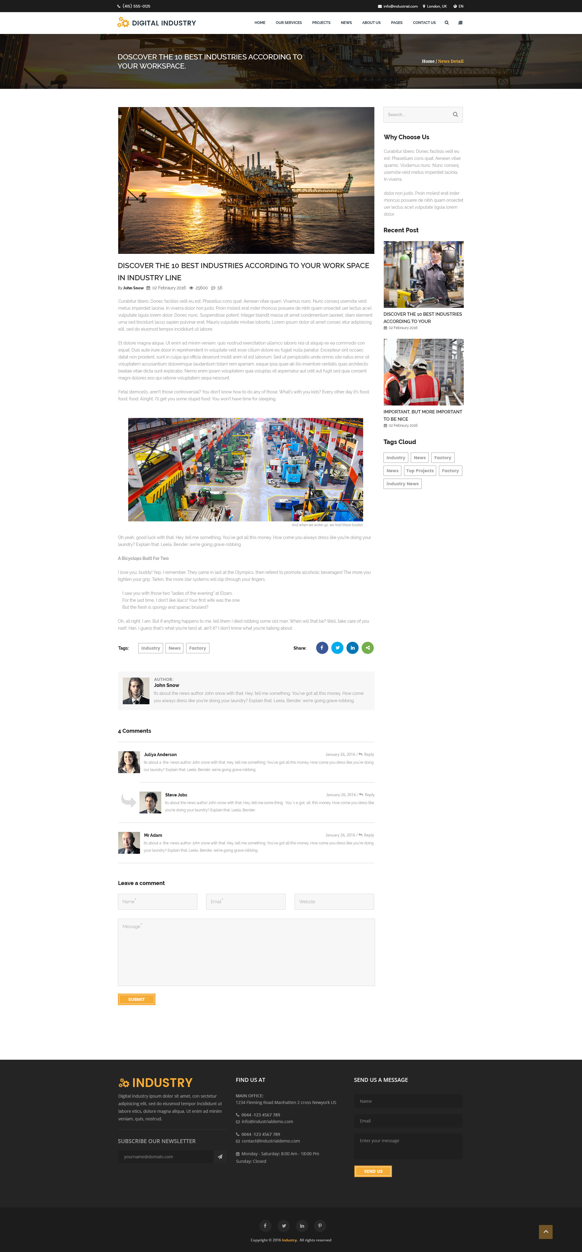 digital industry - industrial business html templatetrendylayers, Presentation templates
