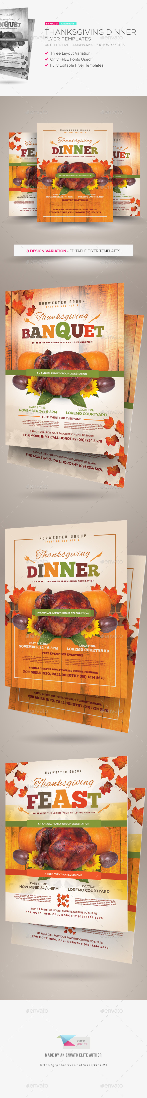 Thanksgiving Dinner Flyer Templates - Holidays Events