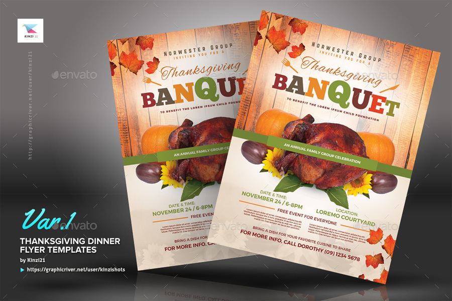 Thanksgiving Dinner Flyer Templates By Kinzishots | Graphicriver