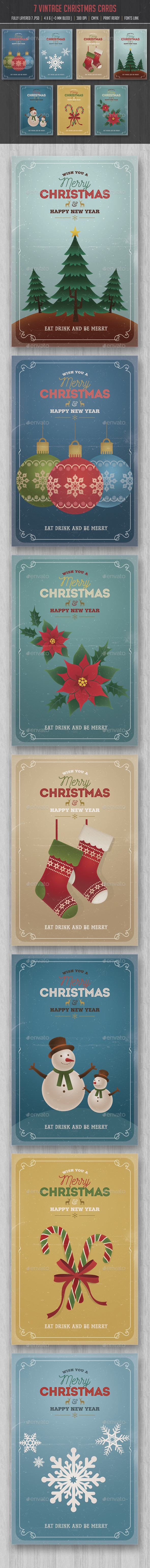 Retro Vintage Christmas Cards/Invitation Pack - Cards & Invites Print Templates