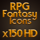 150 RPG Fantasy Icons Set (Weapons, Armor, Clothes)